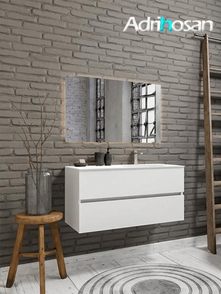 Mueble de baño 100 cm Blanco mate con 2 cajones, lavabo de Solid surface seno derecho con 1 orificio(s) para el grifo.