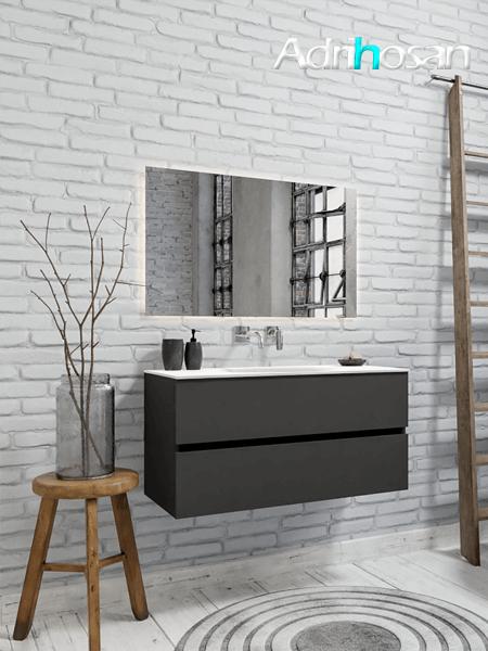 Mueble de baño 100 cm Antracita con 2 cajones, lavabo de Solid surface seno centrado con 0 orificio(s) para el grifo.