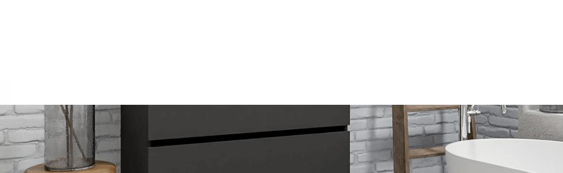 Mueble de baño suspendido Vica 100 Antracita 2 cajones en acabado Antracita. Un mueble de baño de seno centrado de apertura suave por uñero con encimera para grifo empotrado.