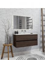 Mueble de baño suspendido Vica 100 Wood nogal 2 cajones en acabado Wood nogal mate. Un mueble de baño de apertura suave por uñero con encimera para grifo empotrado y seno centrado.