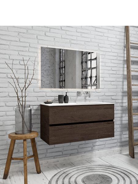 Mueble de baño 100 cm Wood nogal con 2 cajones, lavabo de Solid surface seno derecho con 0 orificio(s) para el grifo.