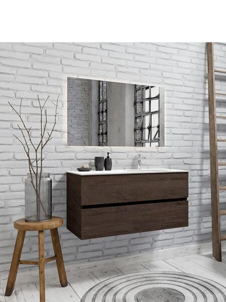 Mueble de baño 100 cm Wood nogal con 2 cajones, lavabo de Solid surface seno derecho con 1 orificio(s) para el grifo.