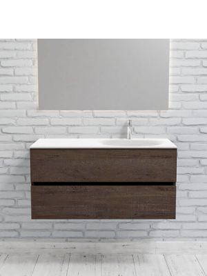 Mueble de baño suspendido Vica 100 Wood nogal 2 cajones en acabado Wood nogal mate. Un mueble de baño de apertura suave por uñero con encimera para grifo sobre encimera y seno derecho.