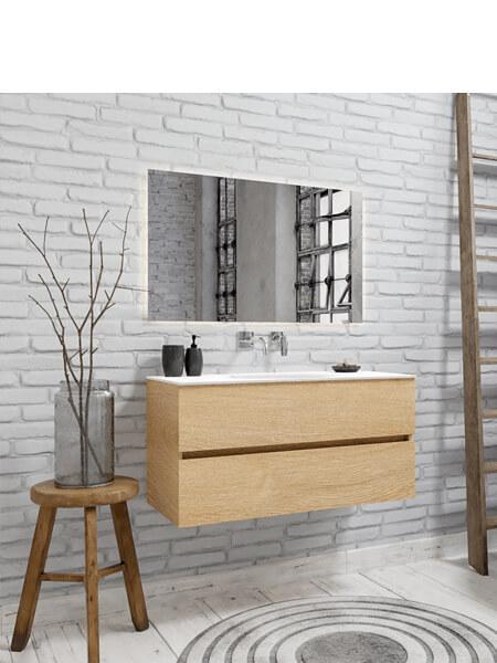 Mueble de baño 100 cm Wood roble natural con 2 cajones, lavabo de Solid surface seno centrado con 0 orificio(s) para el grifo.