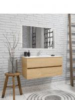 Mueble de baño suspendido Vica 100 Wood roble natural 2 cajones en acabado Wood nogal mate. Un mueble de baño de apertura suave por uñero con encimera para grifo sobre encimera y seno centrado.