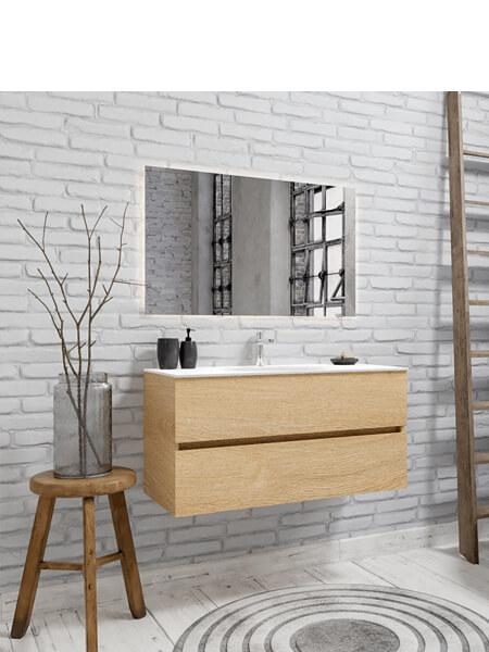 Mueble de baño 100 cm Wood roble natural con 2 cajones, lavabo de Solid surface seno centrado con 1 orificio(s) para el grifo.