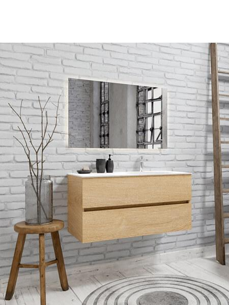 Mueble de baño 100 cm Wood roble natural con 2 cajones, lavabo de Solid surface seno derecho con 1 orificio(s) para el grifo.