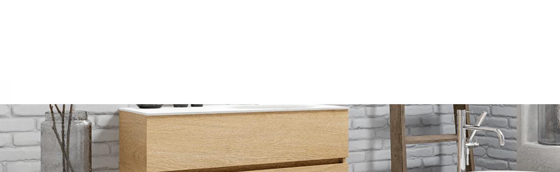 Mueble de baño suspendido Vica 100 Wood roble natural 2 cajones en acabado Wood nogal mate. Un mueble de baño de apertura suave por uñero con encimera para grifo sobre encimera y seno derecho.