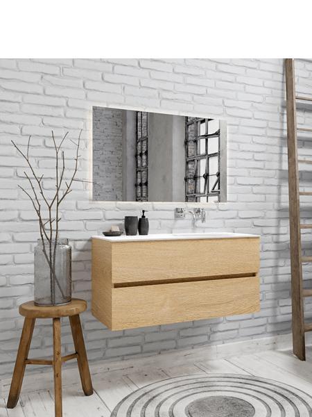 Mueble de baño 100 cm Wood roble natural con 2 cajones, lavabo de Solid surface seno derecho con 0 orificio(s) para el grifo.