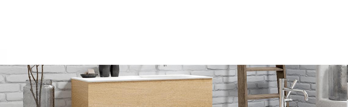 Mueble de baño suspendido Vica 100 Wood roble natural 2 cajones en acabado Wood roble natural mate. Un mueble de baño de apertura suave por uñero con encimera para grifo empotrado y seno derecho.