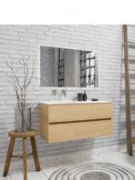 Mueble de baño suspendido Vica 100 Wood roble natural 2 cajones en acabado Wood roble natural mate. Un mueble de baño de apertura suave por uñero con encimera para grifo empotrado y seno izquierda.