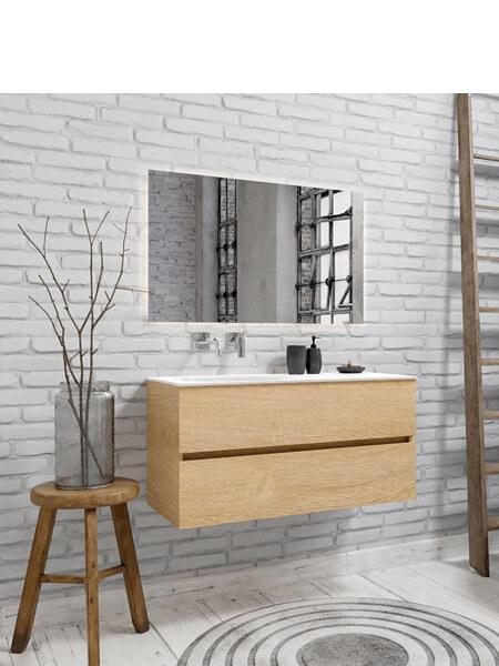 Mueble de baño 100 cm Wood roble natural con 2 cajones, lavabo de Solid surface seno izquierdo con 0 orificio(s) para el grifo.