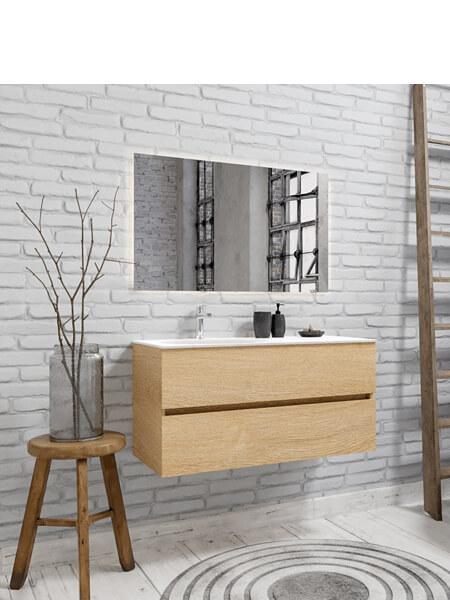 Mueble de baño 100 cm Wood roble natural con 2 cajones, lavabo de Solid surface seno izquierdo con 1 orificio(s) para el grifo.