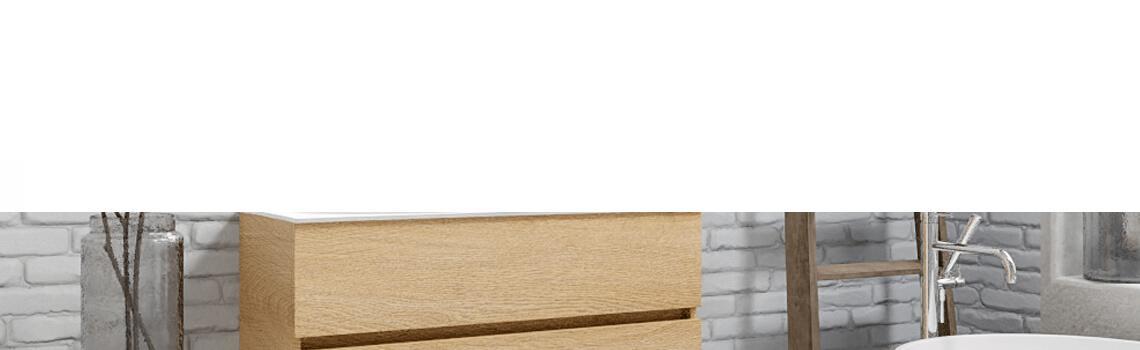 Mueble de baño suspendido Vica 100 Wood roble natural 2 cajones en acabado Wood roble natural mate. Un mueble de baño de apertura suave por uñero con encimera para grifo sobre encimera y seno izquierda.