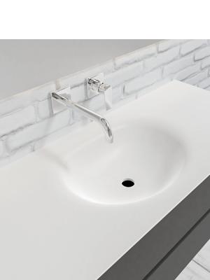 Mueble de baño suspendido Vica 120 Antracita 2 cajones en acabado Antracita. Un mueble de baño de seno centrado de apertura suave por uñero con encimera para grifo empotrado.