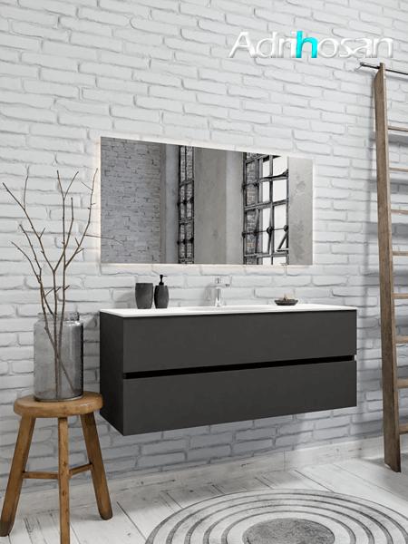 Mueble de baño 120 cm Antracita con 2 cajones, lavabo de Solid surface seno centrado con 1 orificio(s) para el grifo.