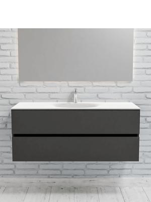 Mueble de baño suspendido Vica 120 Antracita 2 cajones en acabado Antracita. Un mueble de baño de seno centrado de apertura suave por uñero con encimera para grifo sobre encimera.
