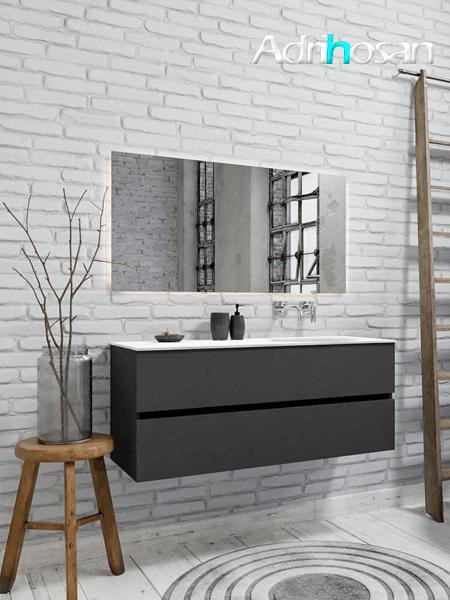Mueble de baño 120 cm Antracita con 2 cajones, lavabo de Solid surface seno derecho con 0 orificio(s) para el grifo.