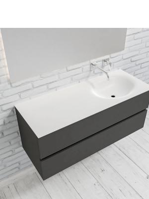 Mueble de baño suspendido Vica 120 Antracita 2 cajones en acabado Antracita. Un mueble de baño de seno derecho de apertura suave por uñero con encimera para grifo empotrado.