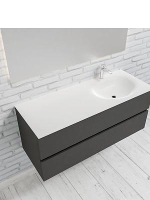 Mueble de baño suspendido Vica 120 Antracita 2 cajones en acabado Antracita. Un mueble de baño de seno derecho de apertura suave por uñero con encimera para grifo sobre encimera.