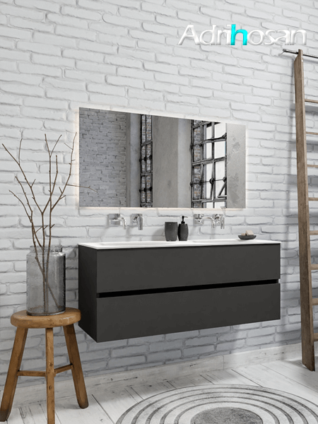 Mueble de baño 120 cm Antracita con 2 cajones, lavabo de Solid surface seno doble con 0 orificio(s) para el grifo.