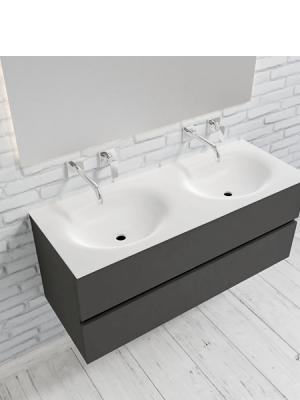 Mueble de baño suspendido Vica 120 Antracita 2 cajones en acabado Antracita. Un mueble de baño de seno doble de apertura suave por uñero con encimera para grifo empotrado.