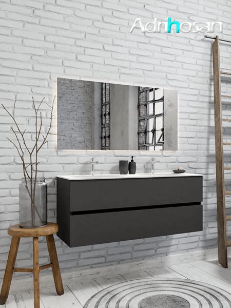 Mueble de baño 120 cm Antracita con 2 cajones, lavabo de Solid surface seno doble con 2 orificio(s) para el grifo.