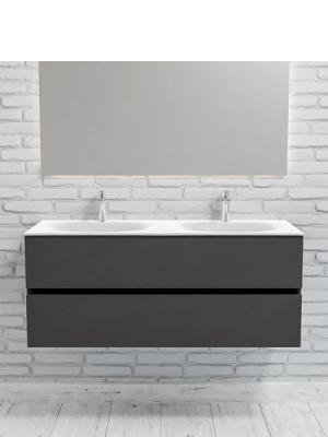 Mueble de baño suspendido Vica 120 Antracita 2 cajones en acabado Antracita. Un mueble de baño de seno doble de apertura suave por uñero con encimera para grifo sobre encimera.