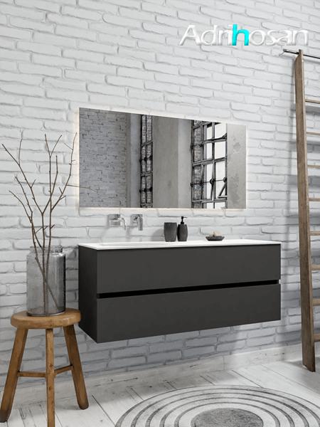 Mueble de baño 120 cm Antracita con 2 cajones, lavabo de Solid surface seno izquierdo con 0 orificio(s) para el grifo.