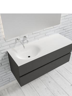 Mueble de baño suspendido Vica 120 Antracita 2 cajones en acabado Antracita. Un mueble de baño de seno izquierdo de apertura suave por uñero con encimera para grifo empotrado.
