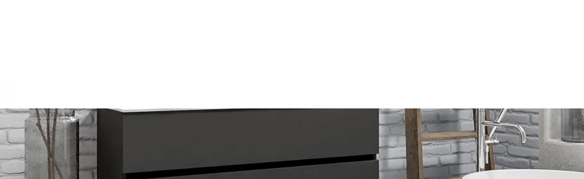Mueble de baño suspendido Vica 120 Antracita 2 cajones en acabado Antracita. Un mueble de baño de seno izquierdo de apertura suave por uñero con encimera para grifo sobre encimera.