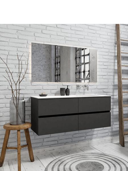 Mueble de baño 120 cm Antracita con 4 cajones, lavabo de Solid surface seno derecho con 0 orificio(s) para el grifo.