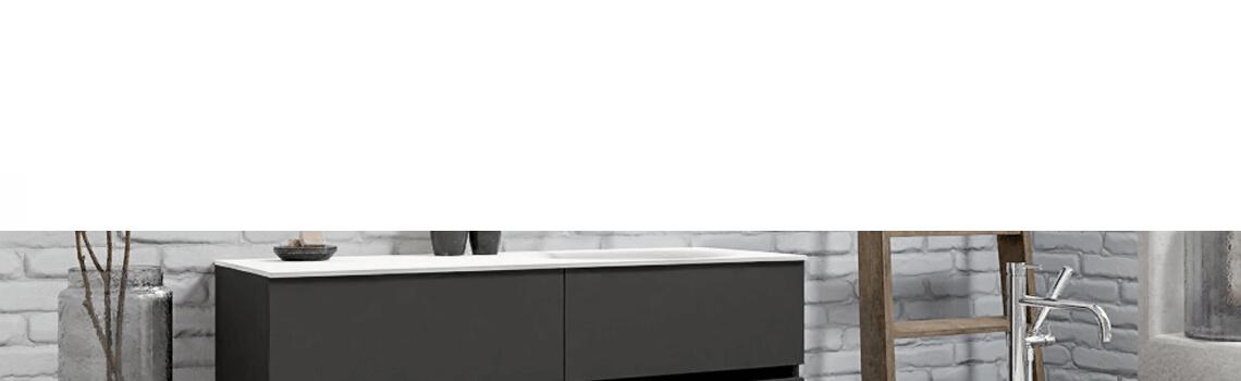 Mueble de baño suspendido Vica 120 Antracita 4 cajones en acabado Antracita. Un mueble de baño de seno derecho de apertura suave por uñero con encimera para grifo empotrado.