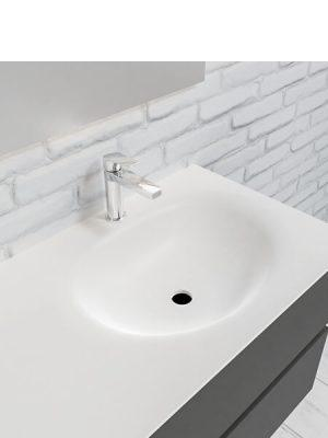 Mueble de baño suspendido Vica 120 Antracita 4 cajones. Un mueble de baño de apertura suave por uñero con encimera para grifo sobre encimera y seno derecha