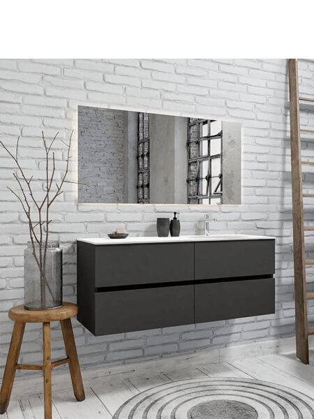 Mueble de baño 120 cm Antracita con 4 cajones, lavabo de Solid surface seno derecho con 1 orificio(s) para el grifo.
