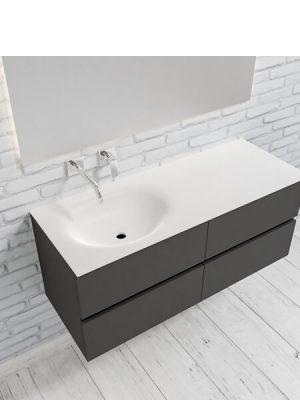Mueble de baño suspendido Vica 120 Blanco 4 cajones. Un mueble de baño de apertura suave por uñero con encimera para grifo empotrado.