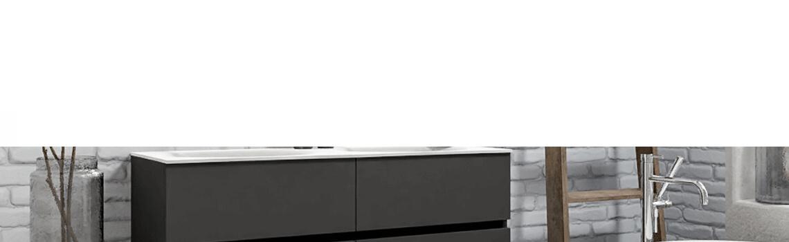 Mueble de baño suspendido Vica 120 Antracita 4 cajones en acabado Blanco . Un mueble de baño de seno doble de apertura suave por uñero con encimera para grifo empotrado.