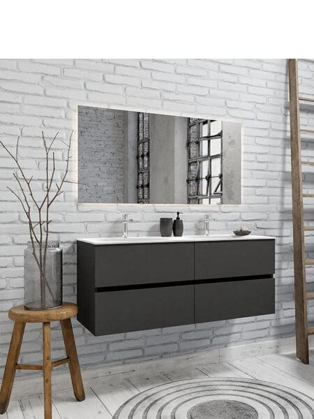 Mueble de baño 120 cm Antracita con 4 cajones, lavabo de Solid surface seno doble con 2 orificio(s) para el grifo.673,90