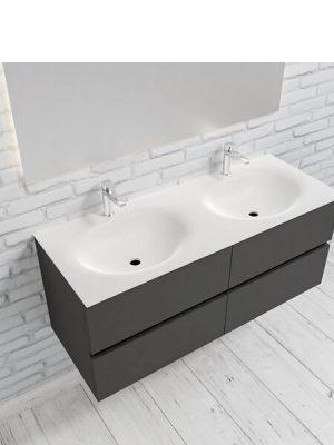 Mueble de baño suspendido Vica 120 Antracita 4 cajones. Un mueble de baño de apertura suave por uñero con encimera para grifo sobre encimera y seno doble