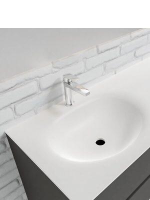 Mueble de baño suspendido Vica 120 Antracita 4 cajones en acabado Antracita . Un mueble de baño de seno izquierdo de apertura suave por uñero con encimera para grifo sobre encimera.