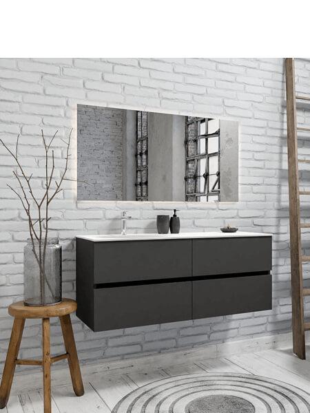 Mueble de baño 150 cm Antracita con 4 cajones, lavabo de Solid surface seno izquierdo con 1 orificio(s) para el grifo.