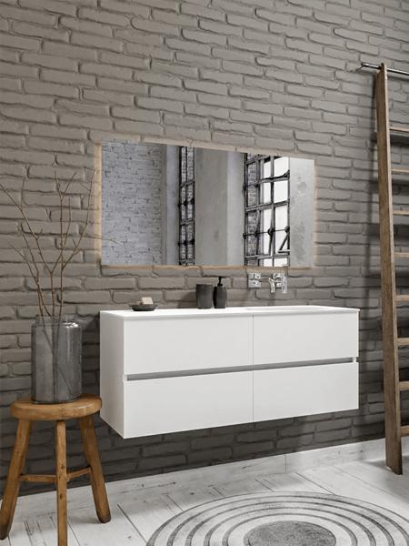 Mueble de baño 150 cm Blanco mate con 4 cajones, lavabo de Solid surface seno derecho con 0 orificio(s) para el grifo.