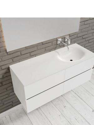 Mueble de baño suspendido Vica 120 Blanco 4 cajones en acabado Blanco . Un mueble de baño de seno derecho de apertura suave por uñero con encimera para grifo empotrado.
