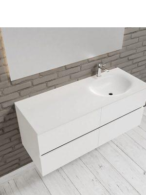 Mueble de baño suspendido Vica 120 Blanco 4 cajones. Un mueble de baño de apertura suave por uñero con encimera para grifo sobre encimera y seno derecha