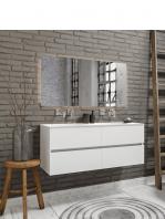 Mueble de baño suspendido Vica 120 Blanco 4 cajones en acabado Blanco . Un mueble de baño de seno doble de apertura suave por uñero con encimera para grifo empotrado.