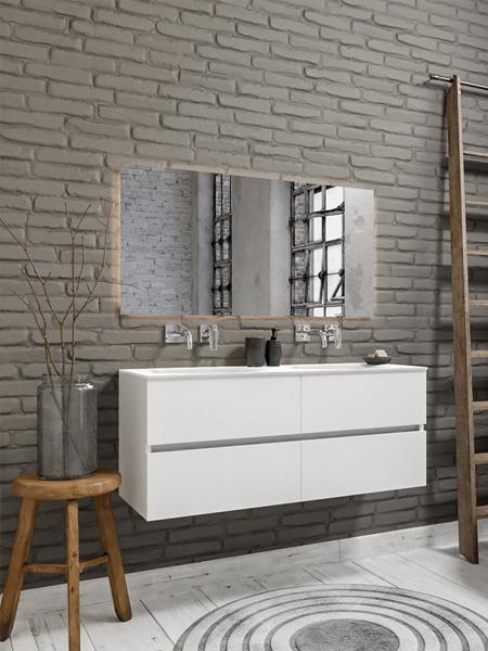 Mueble de baño 150 cm Blanco mate con 4 cajones, lavabo de Solid surface seno doble con 0 orificio(s) para el grifo.