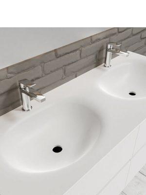 Mueble de baño suspendido Vica 120 Blanco 4 cajones. Un mueble de baño de apertura suave por uñero con encimera para grifo sobre encimera y seno doble