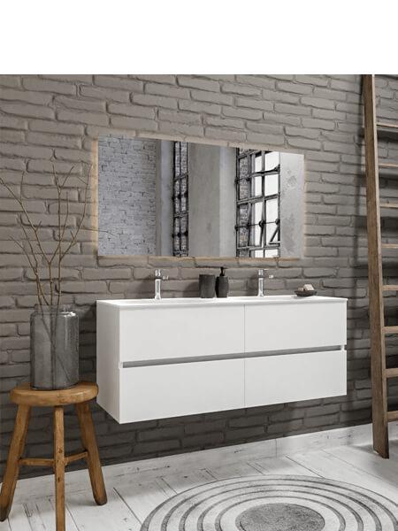 Mueble de baño 150 cm Blanco mate con 4 cajones, lavabo de Solid surface seno doble con 2 orificio(s) para el grifo.