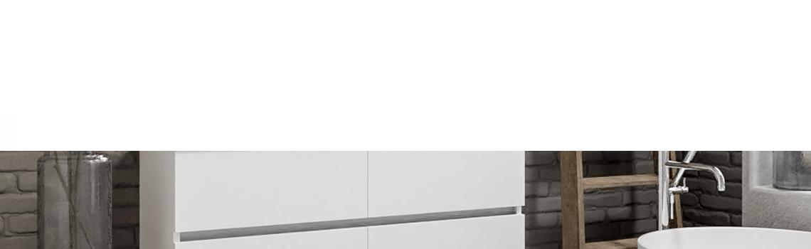 Mueble de baño suspendido Vica 120 Blanco 4 cajones en acabado Blanco . Un mueble de baño de seno izquierdo de apertura suave por uñero con encimera para grifo empotrado.