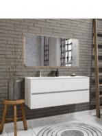 Mueble de baño suspendido Vica 120 Blanco 4 cajones. Un mueble de baño de apertura suave por uñero con encimera para grifo sobre encimera.